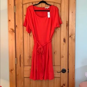 LOFT Dresses - Loft Tie Waist Flounce Dress